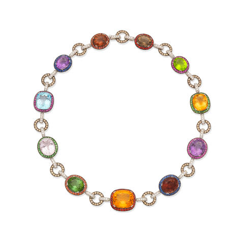 MULTIGEM-SET AND DIAMOND COLLAR NECKLACE
