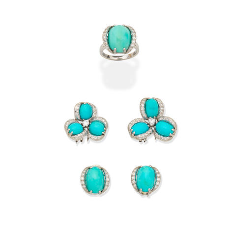 NANNINI: TURQUOISE AND DIAMOND CLIP BROOCHES, EARCLIPS AND RING SUITE (3)