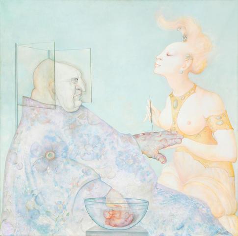 LEONOR FINI (1907-1996) La Leçon d'acupuncture, dit aussi Le Traitement (Les Leçons) (Painted in 1972)