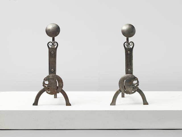 Ernest Gimson Pair of rare andirons, designed 1904, executed 1904-1913/1919-1925