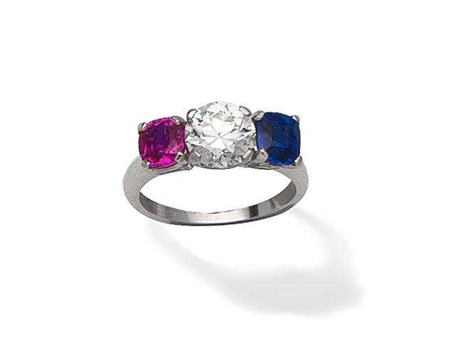 DIAMOND, SAPPHIRE AND RUBY THREE-STONE RING