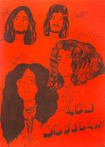 Led Zeppelin: A large and unusual autographed hand-painted poster, 1970,