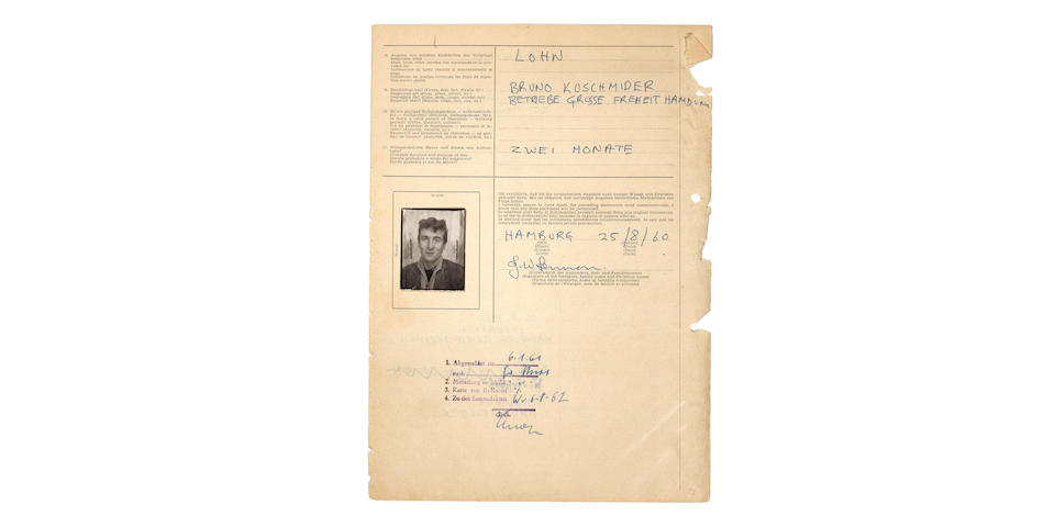 The Beatles/John Lennon: An Important Group Of early documents including John Lennon's Permits Relating To The Beatles' historic Trips To Hamburg, 1960-1962,