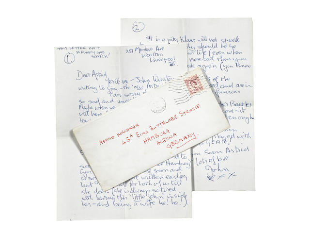 John Lennon: A two page autographed letter from John to Astrid Kirchherr,  Royal Mail stamped October 1962,