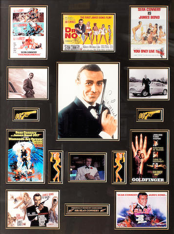 A framed display of Sean Connery 'James Bond' images with signature,