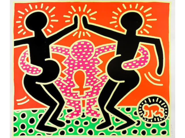 Keith Haring (1958-1990) Untitled, from The Fertility Suite Screenprint in colours, 1983, on wove paper, signed, dated and numbered 5/100 in pencil (there were also 15 artist's proofs), published by Tony Shafrazi Gallery, New York, with margins, the sheet slightly reduced at upper right and lower left extreme sheet edges, otherwise in good condition, the colours exceptionally bright and vibrant, framedSheet 1065 x 1267mm. (41 7/8 x 49 7/8in.)