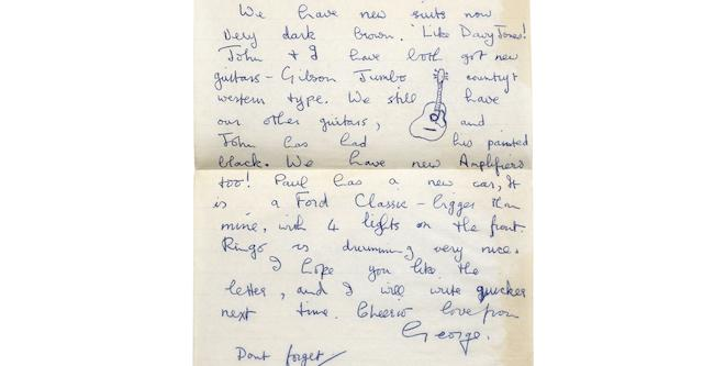 George Harrison: A three page autographed letter from George to Astrid Kirchherr, circa September 1962,