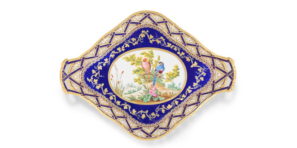 A Sèvres double-handled blue-ground tray (plateau 'losange' à jour à anses), dated 1772