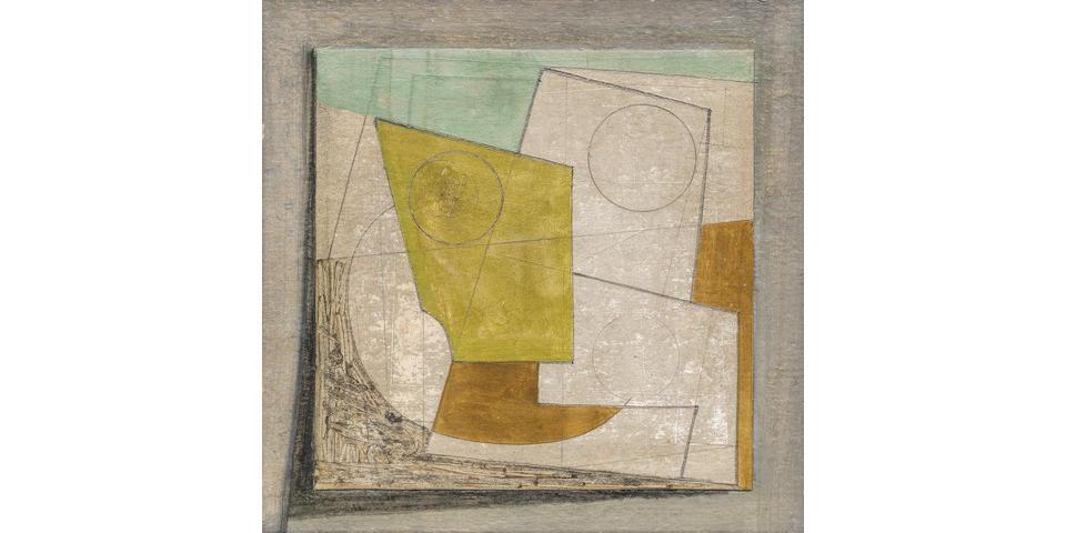 Ben Nicholson O.M. (British, 1894-1982) June 15-47 (Foxy) 18 x 18.4 cm. (7 x 7 1/4 in.)