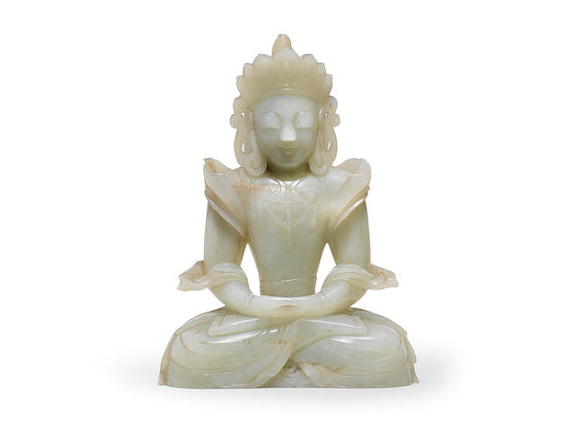 A RARE IMPERIAL PALE GREEN JADE FIGURE OF AMITAYUS 17th/18th century (2)