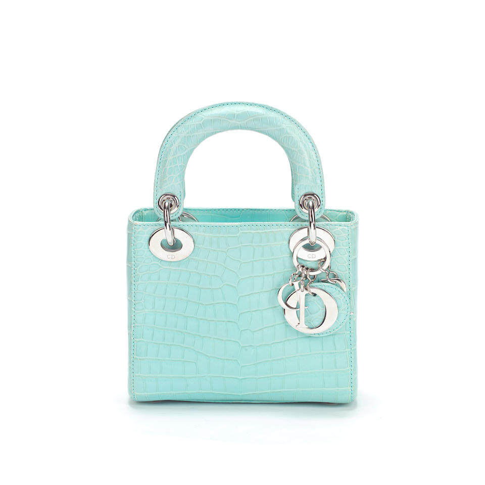 Baby Blue Crocodile Mini Lady Dior, Christian Dior, c. 2015, (Includes shoulder strap, authenticity card, dust bag and box)