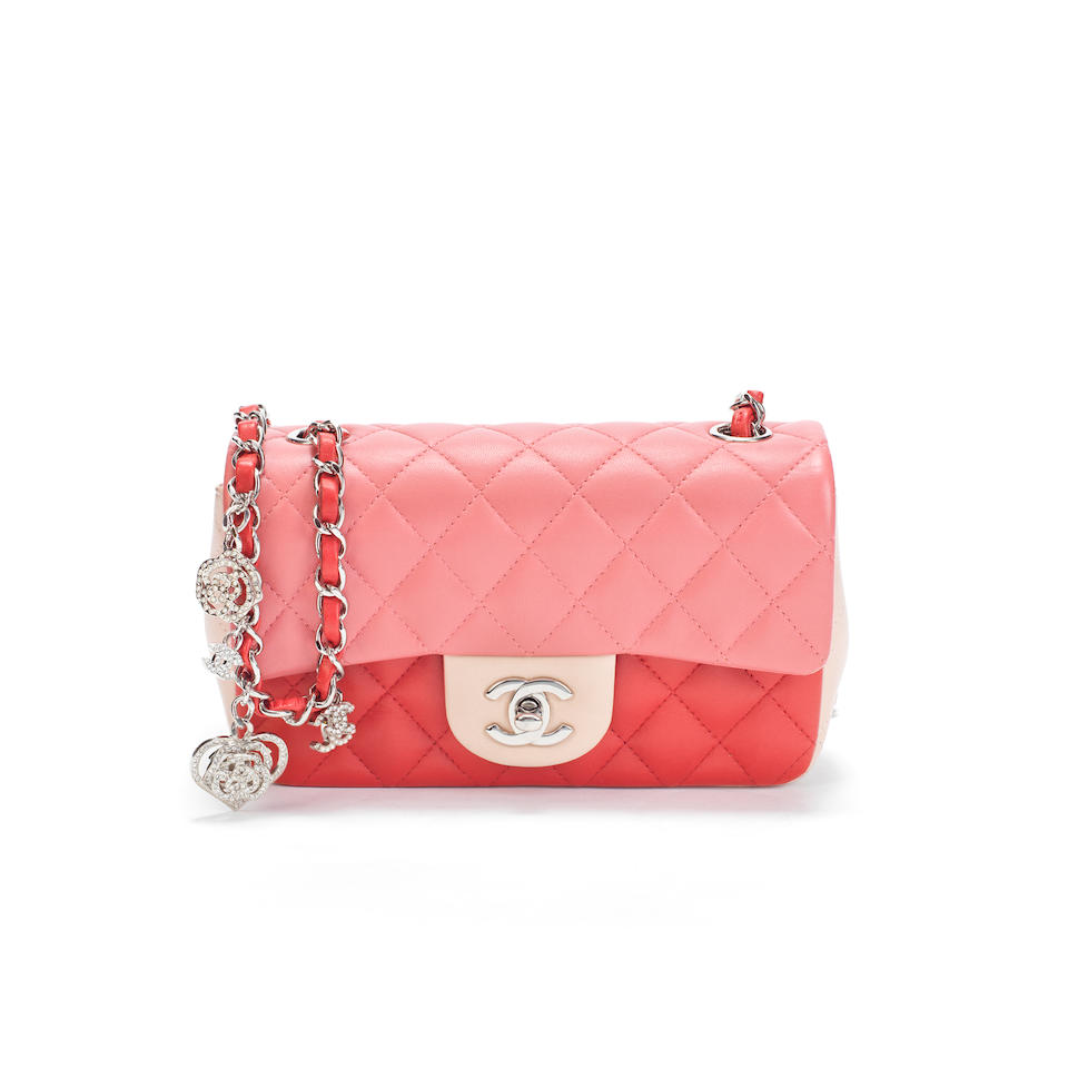 Tri-Colour Valentine Small Classic Flap Bag, Chanel, limited edition 2014, (Includes serial sticker, authenticity card, original receipt, and dust bag)