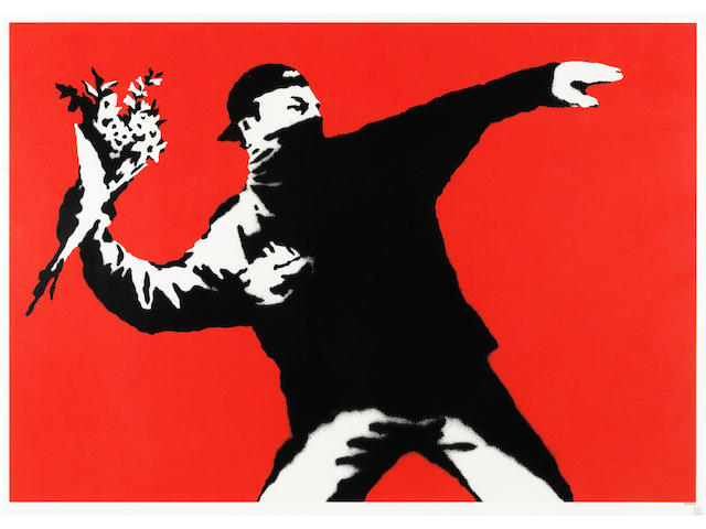 Banksy (British, born 1975) Love Is In The Air Screenprint in colours, 2003, on wove, numbered 320/500 in pencil, published by Pictures on Walls, London, with margins, 500 x 700mm (19 3/4 x 27 1/2in)(SH)