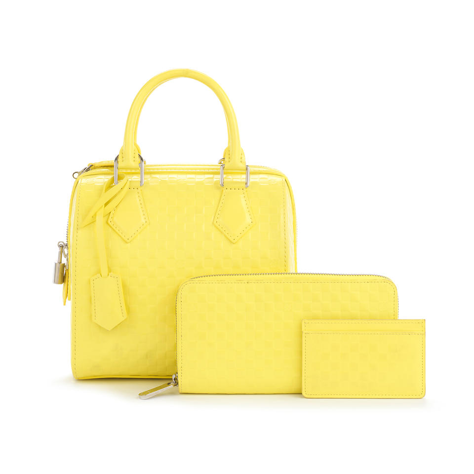 Jaune Damier Speedy Cube PM and Matching Wallet and Card Holder, Louis Vuitton, Spring/Summer 2013, (Includes shoulder strap, padlock, dust bags and boxes)