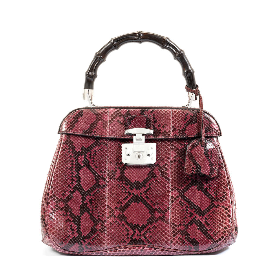 Python Lady Lock Handle Bag, Gucci, c. 2013, (Includes padlock, cloche and copy of CITES licence )
