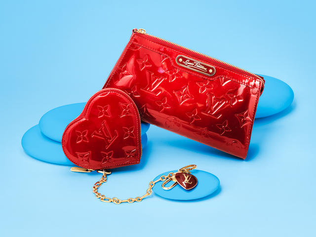 Pomme D'Amour Cosmetic Pouch PM and Matching Coin Purse, Louis Vuitton, c. 2009, (Includes dust bag and box)