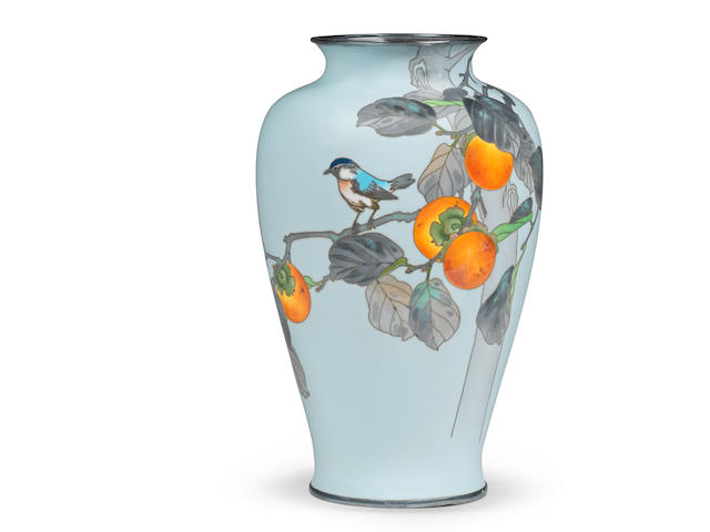 A Cloisonné-enamel moriage baluster vase  By the workshop of Ando Jubei of Nagoya, Meiji (1868-1912) or Taisho (1912-1926), early 20th century (2)