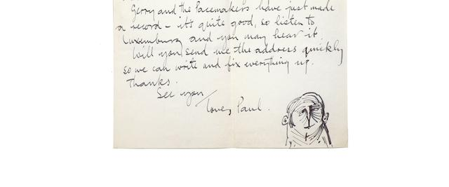 Paul McCartney: a single page autograph letter from Paul to Astrid Kirchherr,  1963,