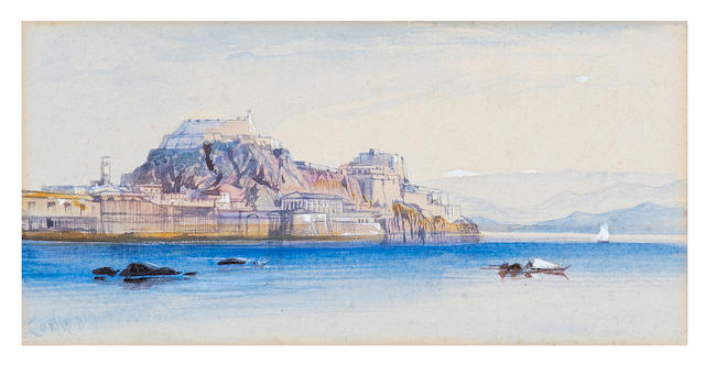 Edward Lear (British, 1812-1888) Corfu (inscribed (lower left)watercolour on paper)