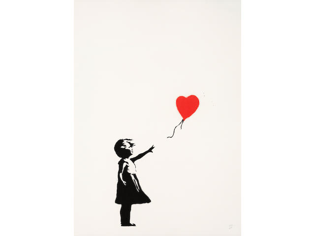 Banksy (British, born 1974) Girl with Balloon Screenprint in black and red, 2004, on wove, numbered 353/600 in pencil, published by Pictures on Walls, London, with their blindstamp, the full sheet, 700 x 500mm (27 1/2 x 19 5/8in)(SH)