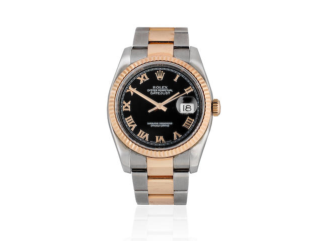 Rolex. A stainless steel and rose gold automatic calendar bracelet watch  Datejust, Ref: 116231, Purchased 23rd December 2007