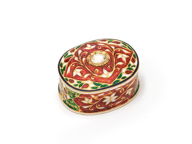 A Diamond-set enamelled gold box India, 20th Century