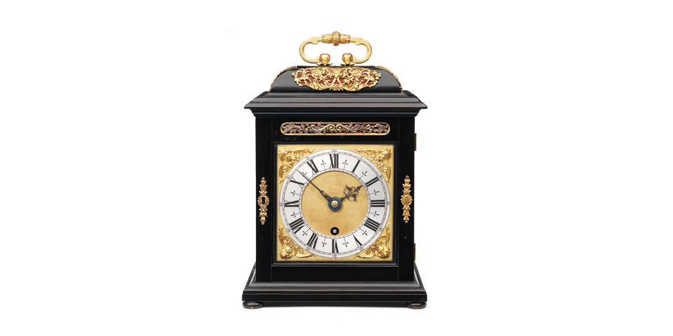 A fine and very rare late 17th century ebony veneered quarter repeating table timepiece Thomas Tompion, Londini Fecit, un-numbered, circa 1680-85