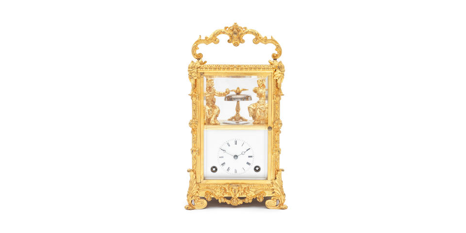A very rare mid 19th century French automata carriage clock with the original travelLing case 3