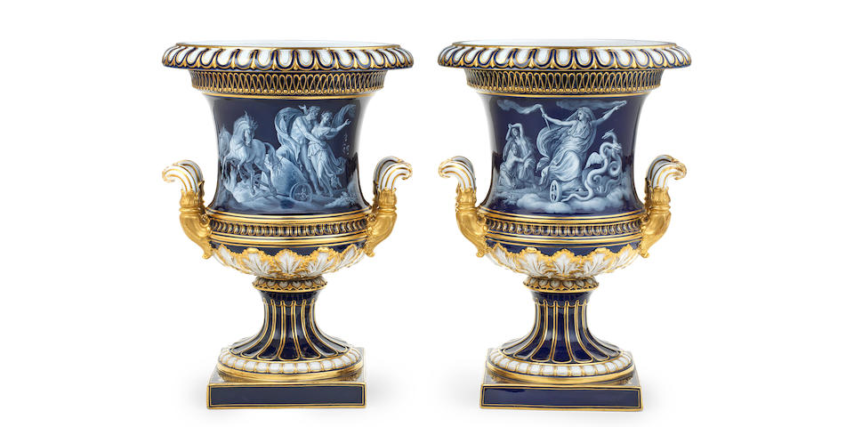 A pair of Meissen 'Limoges enamel' style crater vases, circa 1860