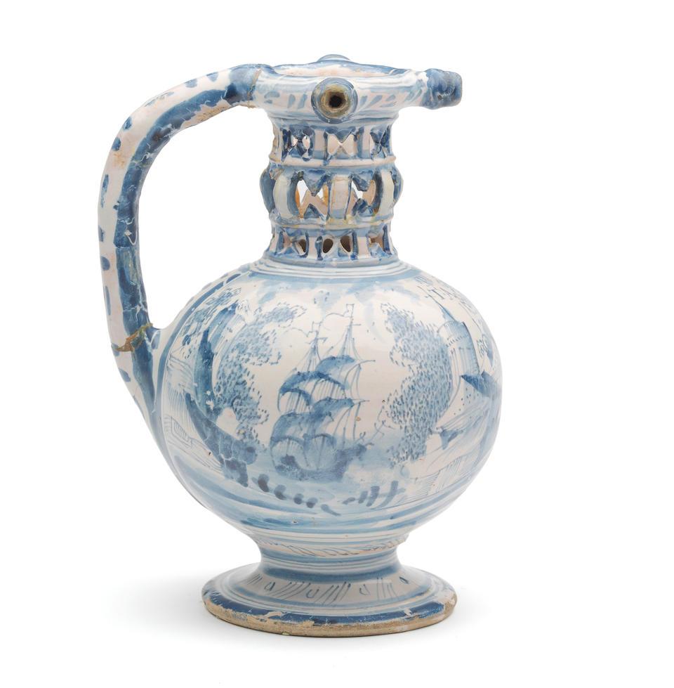 A very rare and unrecorded London delftware puzzle jug, Pickleherring Quay Pottery, Southwark, circa 1650