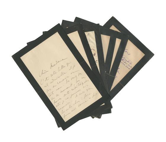 "PROUST (MARCEL) Six autograph letters signed (""Marcel Proust""), five to Thérèse Fould née Ephrussi (""Chère madame"" or ""Madame"") and one to her husband Léon Fould (""Cher Monsieur""), no place or date [Paris, 1905?]"