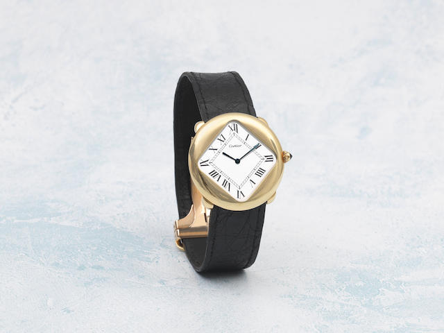 Cartier. A very fine and exceptionally rare iteration of the 'Pebble' manual wind wristwatch from the London workshops Pebble 'Turtle', London Hallmark for 1975