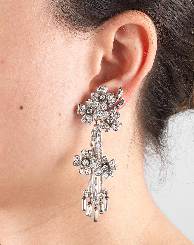 DIAMOND FLOWER PENDENT EARCLIPS,