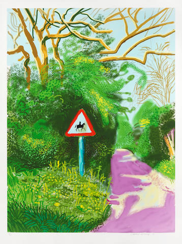 David Hockney (born 1937) The Arrival of Spring in Woldgate, East Yorkshire in 2011 (twenty eleven)- 5 May ipad drawing in colours, 2011, on wove paper, signed, dated and numbered 17/25 in pencil, the full sheet, in very good condition, framedSheet 1400 x 1050mm. (55 x 41 1/2in.)
