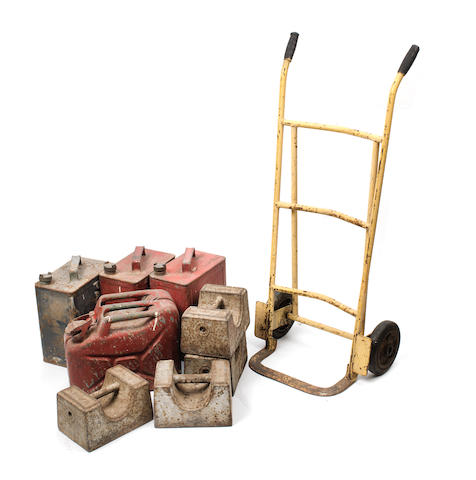 The Healey Works sack barrow, and other garage equipment,