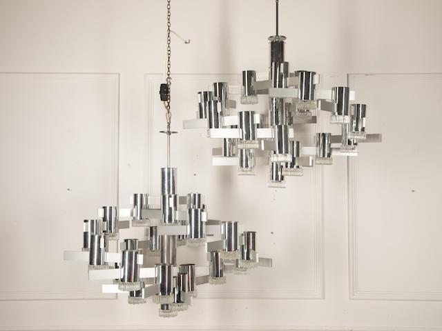 A pair of twenty two-light chrome chandeliers By Gaetano Sciolari, 20th century (2)