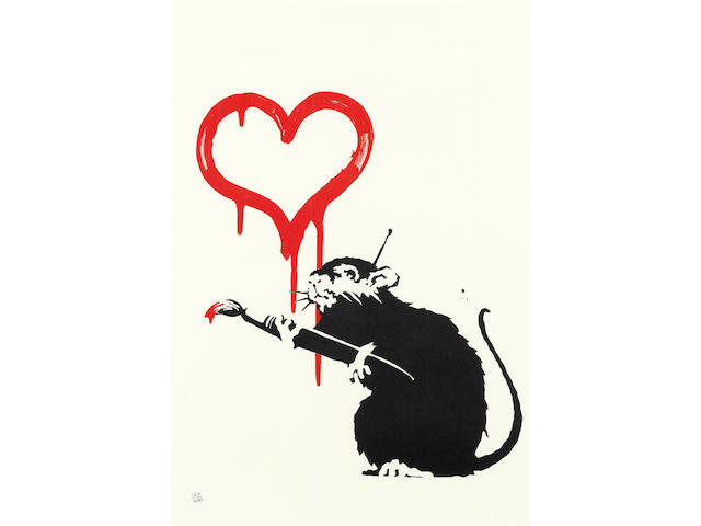 BANKSY (BORN 1974) Love Rat Screenprint in colours, 2004, on wove paper, numbered 260/600 in pencil, published by Pictures on Walls, London, with their blindstamp, the full sheet, in very good condition, framedSheet 492 x 343mm. (19 3/8 x 13 1/2in.)