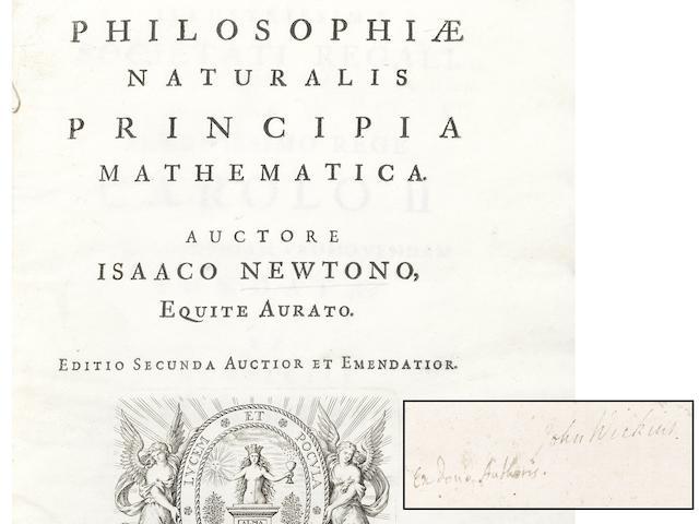 NEWTON (ISAAC) Philosophiae naturalis principia mathematica... Editio secunda auctior et emendatior, PRESENTATION COPY FROM NEWTON TO HIS CHAMBER-FELLOW JOHN WICKINS, Cambridge, [Cornelius Crownfield at the University Press], 1713