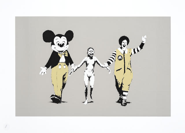 Banksy (British, born 1974) Napalm Screenprint in colours, 2004, on wove, numbered 156/500 in pencil, published by Pictures on Walls, London, with their blindstamp, the full sheet, 500 x 700mm (19 5/8 x 27 1/2in)(SH)