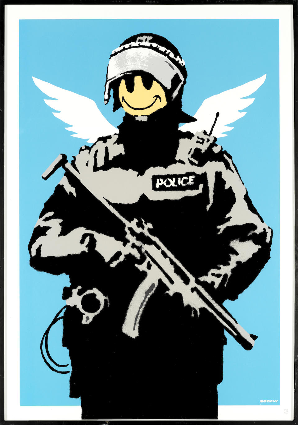 Banksy (British, born 1974) Flying Copper Screenprint in colours, 2004, on wove, numbered 353/600 in pencil, published by Pictures on Walls, London, the full sheet, 994 x 695mm (39 1/8 x 27 3/8in)(SH)