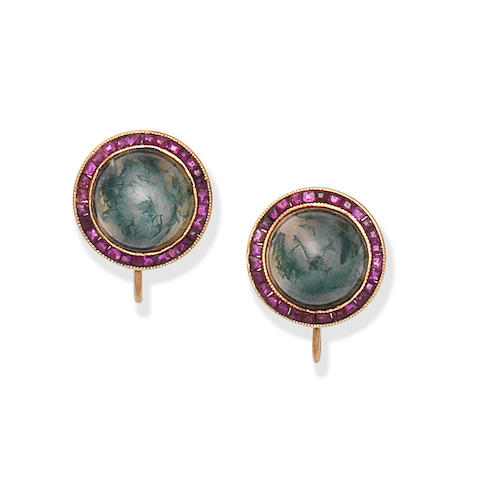 MOSS AGATE AND RUBY EARCLIPS