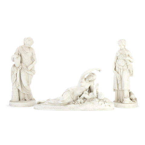 A pair of late 19th century Copeland Parian porcelain figures of 'Ruth' and 'Rebekah' and a further similar period Copeland figure of 'Ino and the infant Bacchus' the pair of figures modelled after William Theed (1804-1891), the other figure modelled after J.H. Foley (1818-1874) (3)