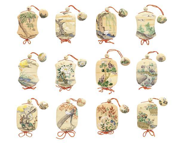 A complete set of twelve ceramic three-case inro  By Ogata Kenya II (1853-1923), late 19th century (12)