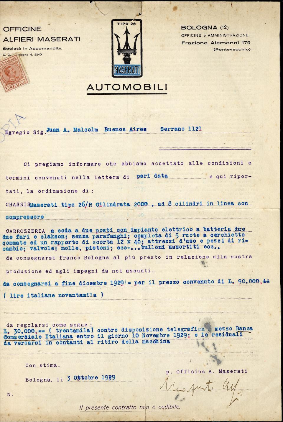 The ex-Juan Augusto Malcolm/Argentina,1928 Maserati Tipo 26B 2.1-Litre Sports, Gran Premio and Formule Libre Racing Two-Seater  Chassis no. 35