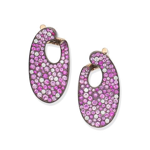 MARGHERITA BURGENER: PINK SAPPHIRE AND DIAMOND-SET EARRINGS