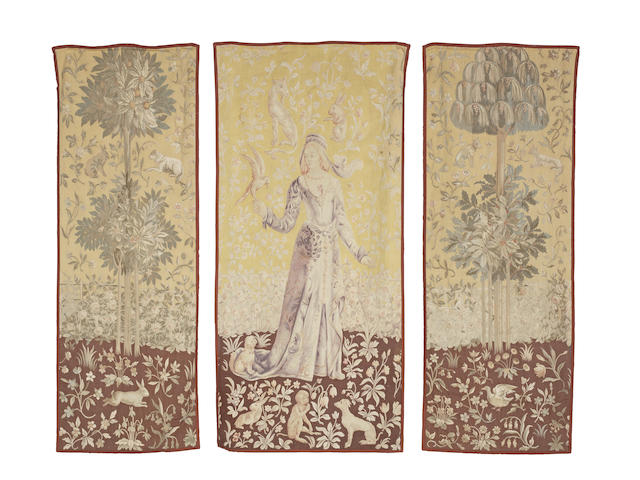 A set of three attractive Genre Tapestry Portiere, after the The Lady of Cluny (Lady and the Unicorn) tapestry probably France 187cm x 90cm (1) 192cm x 69cm (2)