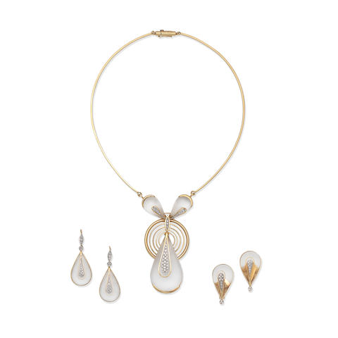 LALAOUNIS: DIAMOND AND ROCK CRYSTAL NECKLACE AND EARCLIP SUITE (3)