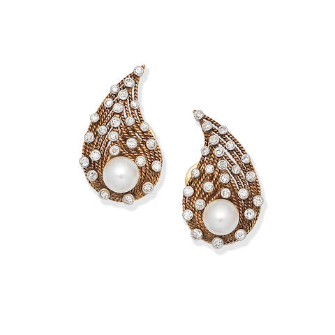 CULTURED PEARL AND DIAMOND EARCLIPS,