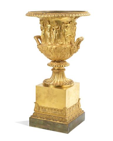 An impressive Charles X gilt bronze model of the Borghese Vase
