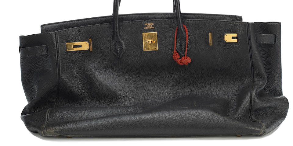 Jane Birkin's Black Togo Birkin 35, Hermès, c. 1999, (Includes dust bag, a signed letter of authenticity from Jane Birkin and Anno's Africa, and a copy of a letter written by Jane Birkin)